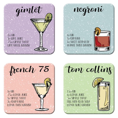 Gin Cocktail Coaster Set