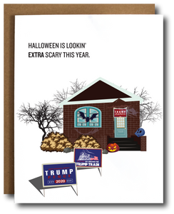 Trump Scary Halloween Decorations Card