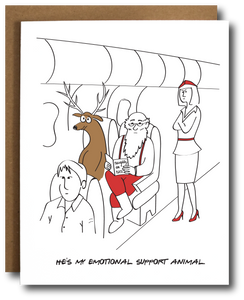 Emotional Support Reindeer Christmas Card