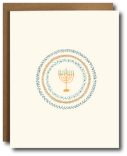 Hannukah menorah greeting card with classic wreath wrapped around