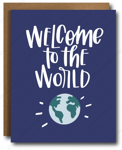 greeting card with navy background and image of earth that reads