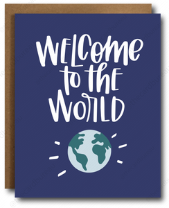 "greeting card with navy background and image of earth that reads ""Welcome to the world"" in white cursive font"