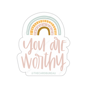 High quality vinyl matte sticker with pastel rainbow. Reads you are worthy and makes for a great gift or stocking stuffer