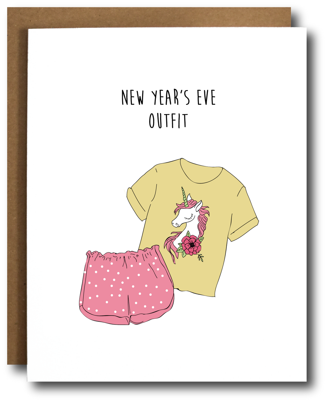 New Year's Eve outfit greeting card unicorn pajamas