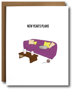 New Year's greeting card with image of purple couch, cat, ball of yarn and Chinese takeout