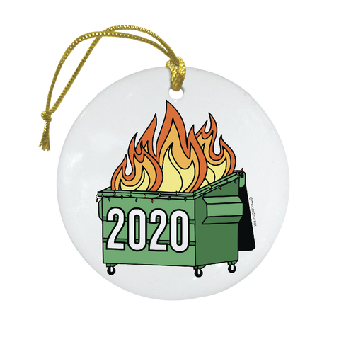 Green 2020 dumpster fire Christmas tree ornament on ceramic medium
