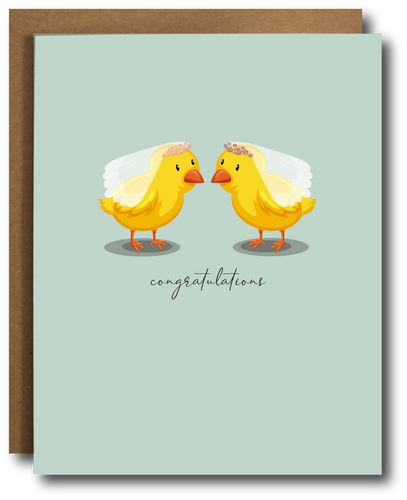 Two Chicks Lesbian Wedding Card