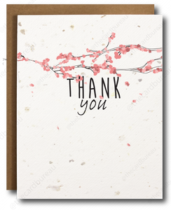 Washington DC cherry blossom thank you card. Made on plantable seed paper. Great for friends, teachers, healthcare workers or loved ones.