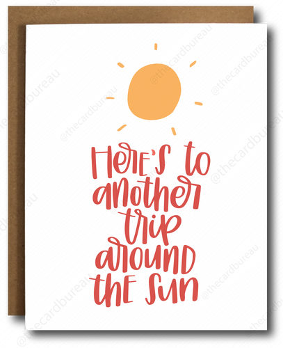 high quality greeting card with image of yellow sun and red cursive text that reads