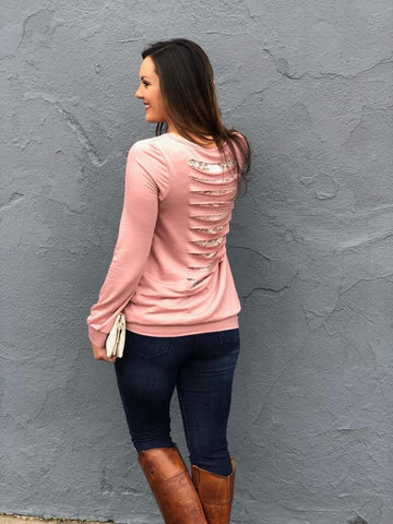 Pink Long Sleeve Top With Lace Liner
