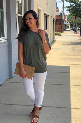 Olive Top with detailed back