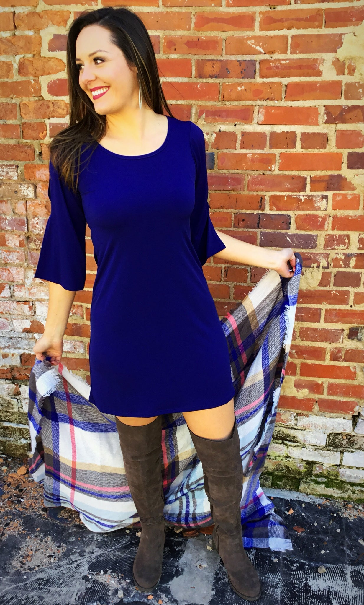 Navy Open Sleeve Dress