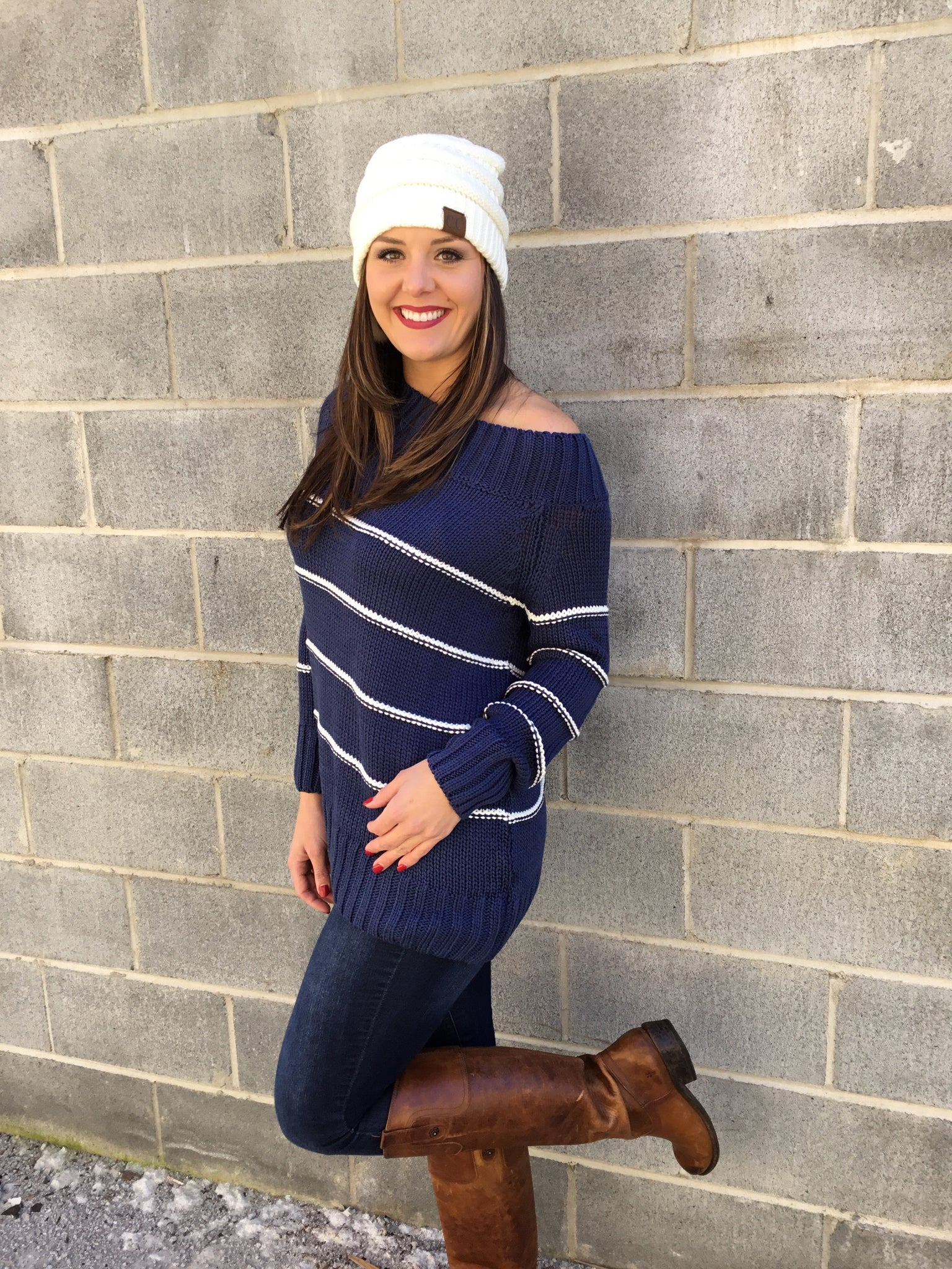 Navy Off Shoulder Sweater