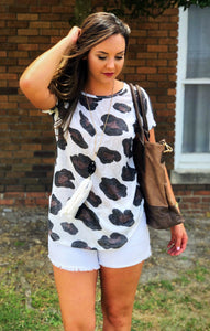Ivory cow print top