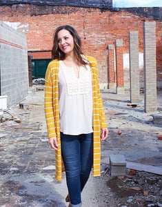 Mustard Striped Long Cardigan