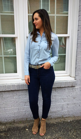 Light Denim Button Down Top