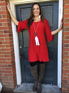Red Open Sleeve Dress