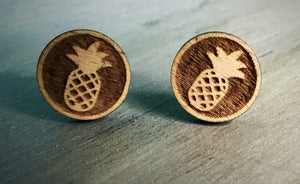 Wooden Pineapple Stud Earrings
