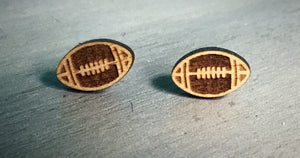 Wooden Football Earrings