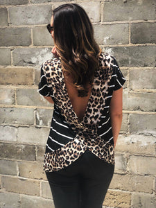 Striped Top With Animal Print Trim And Back Drop