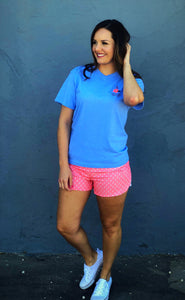 Coral shorts with anchor print