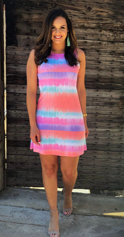 Sleeveless Silk Multi Colored Dress