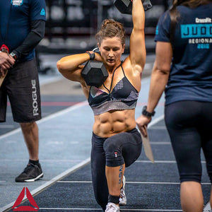 Tia-Clair Toomey competing at a CrossFit event. How I Became the Fittest Woman on Earth: My Story So Far by Tia-Clair Toomey. ISBN: 978-0-646-98727-9