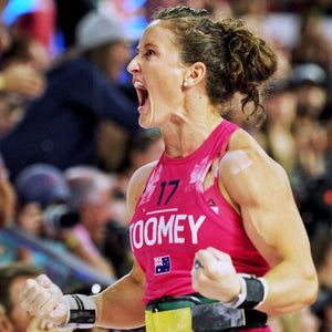 Tia-Clair Toomey celebrating a win at the CrossFit Games. How I Became the Fittest Woman on Earth: My Story So Far by Tia-Clair Toomey. ISBN: 978-0-646-98727-9