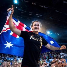 Load image into Gallery viewer, Tia-Clair Toomey holding the Australian flag. How I Became the Fittest Woman on Earth: My Story So Far by Tia-Clair Toomey. ISBN: 978-0-646-98727-9