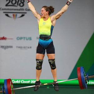Tia-Clair Toomey celebrating successful weight lift. How I Became the Fittest Woman on Earth: My Story So Far by Tia-Clair Toomey. ISBN: 978-0-646-98727-9