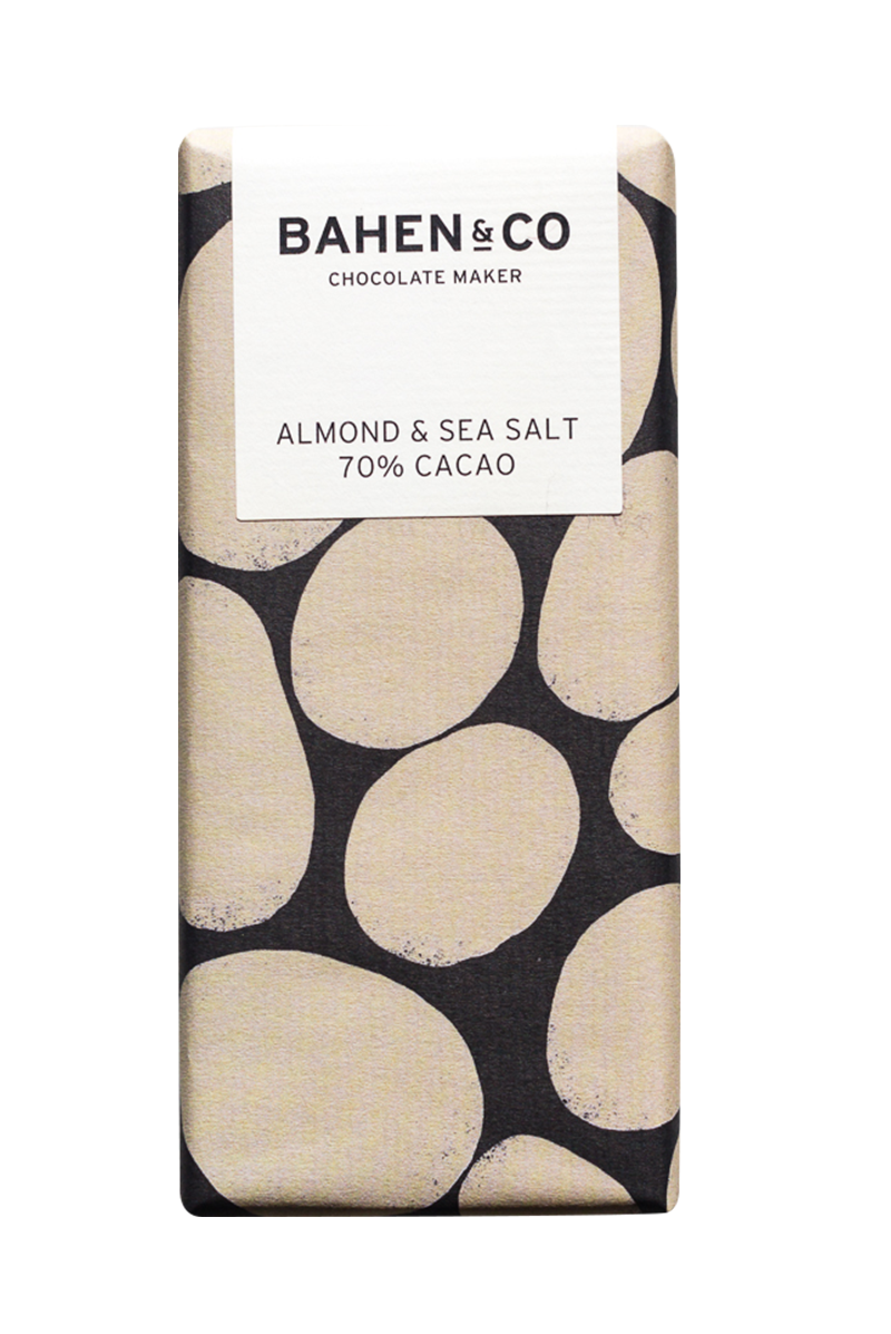 BAHEN & CO- Dk Chocolate-  Almond & Sea Salt 70% 75g