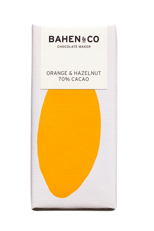 BAHEN & CO- Dk Chocolate - Orange & Hazelnut  70% 75g