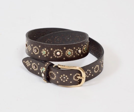 B BELT - MEA GOLD LEATHER BELT with Studs 35mm - STEEL GREY 770