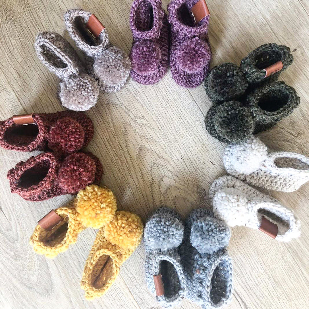 HAND KNITTED - Merino Wool Pom Pom Booties - NEWBORN