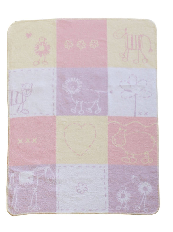 DAVID FUSSENEGGER - PINK LOVE PATCH CACTUS JUWEL BASSINET BLANKET