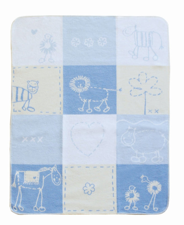 DAVID FUSSENEGGER - BLUE LOVE PATCH - JUWEL BASSINET BLANKET