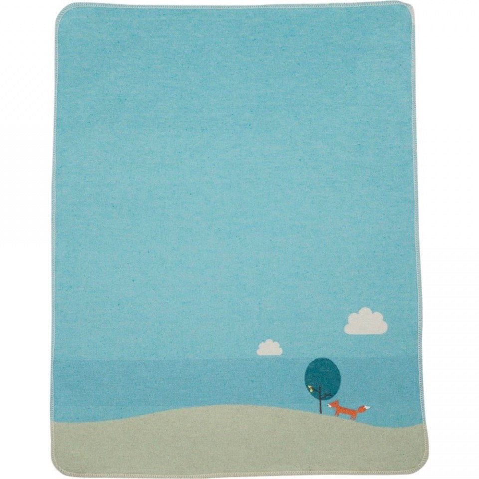 DAVID FUSSENEGGER -JEWEL Embroidered Fox Bassinet Blanket BLUE