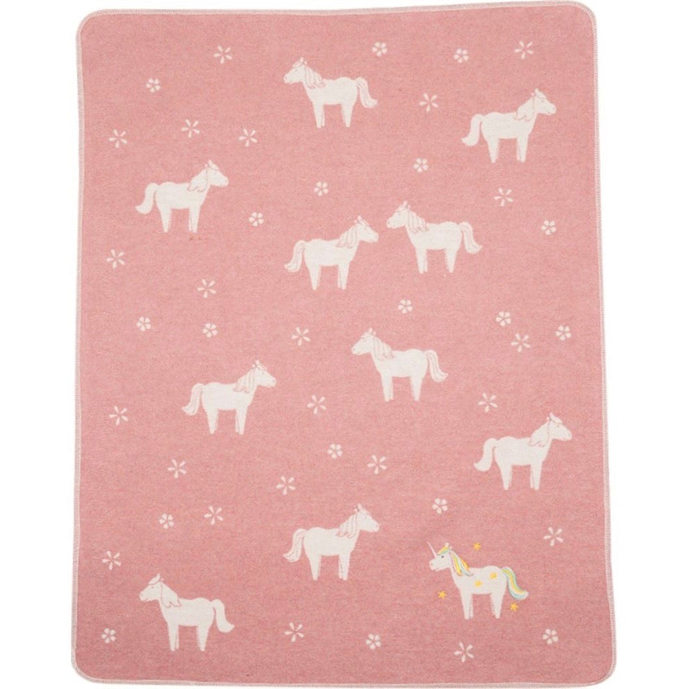 DAVID FUSSENEGGER - PINK UNICORNS - JUWEL BASSINET BLANKET
