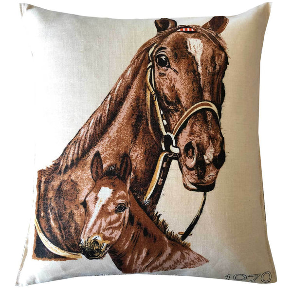 MARE & FOAL on 1979 CALENDAR - vintage linen tea towel cushion