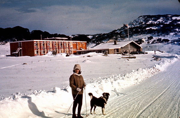 "Vintage girl with dog ""Man from Snow River Hotel"" Perisher Circa 1960's"