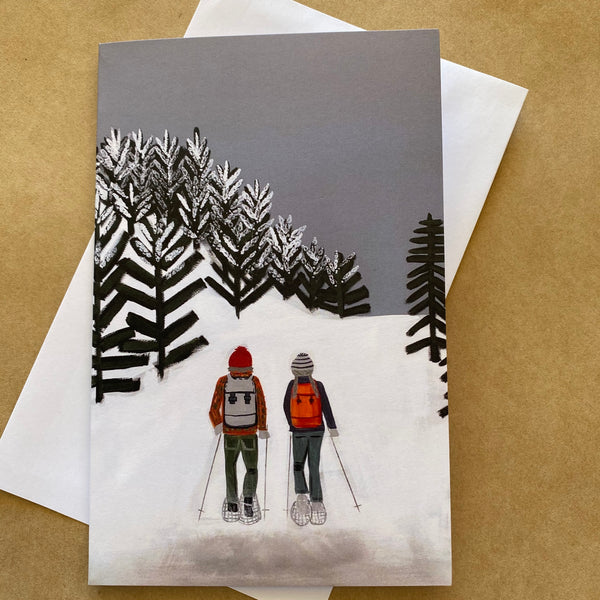 """ Snowshoeing "" ART CARD by JUSTINE SLOUGH"