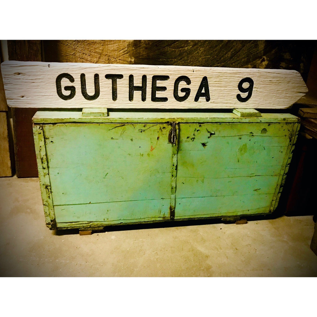 GUTHEGA  9  - Sign made from recycled timber