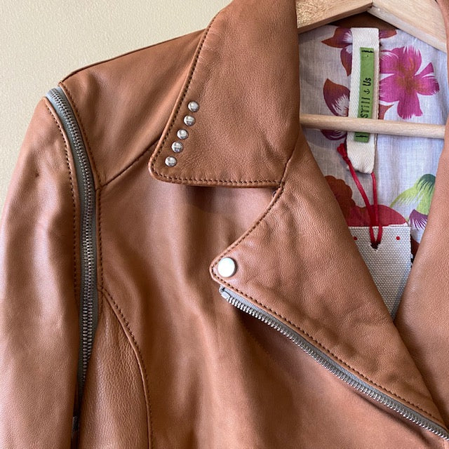 STILL US- Biker NATURAL LEATHER Jacket with detachable sleeves - HONEY 48