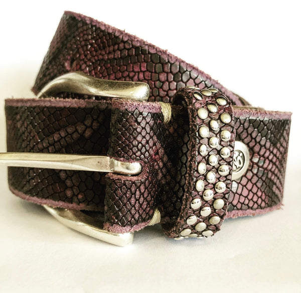 B BELT -  SAHRA DEEP PURPLE METALLIC LEATHER BELT