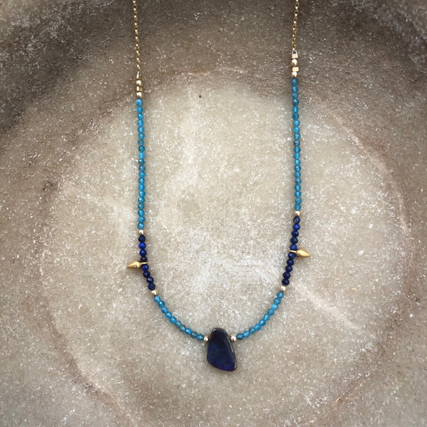 ACE OF SWORDS - Boulder Opal, Lapis Lazuli, & Apatite necklace (one off) - GOLD