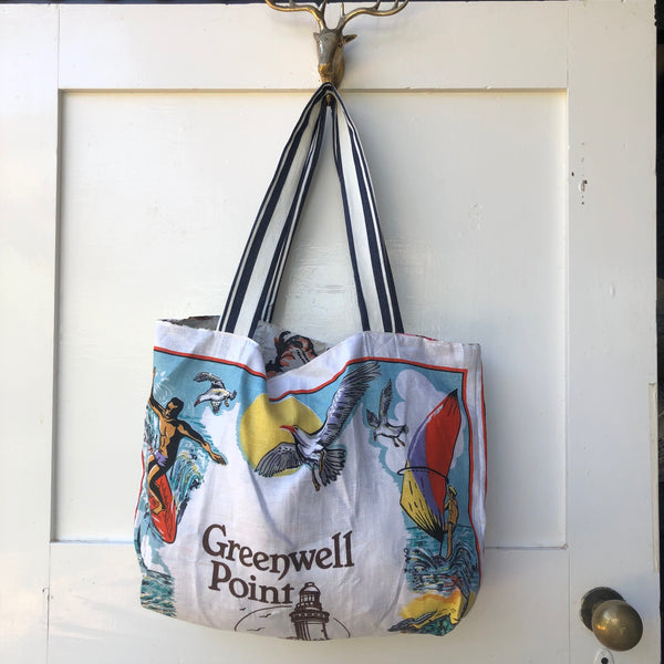 GREENWELL POINT - Vintage Teatowel tote