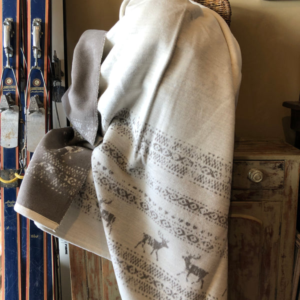 DAVID FUSSENEGGER- MONTANA ALPINE BORDER Throw - OFF WHITE