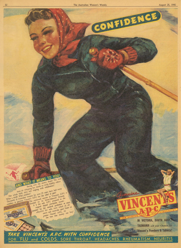 VINTAGE WOMENS WEEKLY VINCENTS Advertisement AUGUST 1945