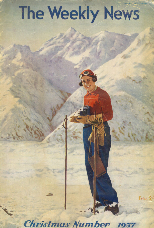 "VINTAGE ""The Weekly News"" NZ Cover SKIING 1937"