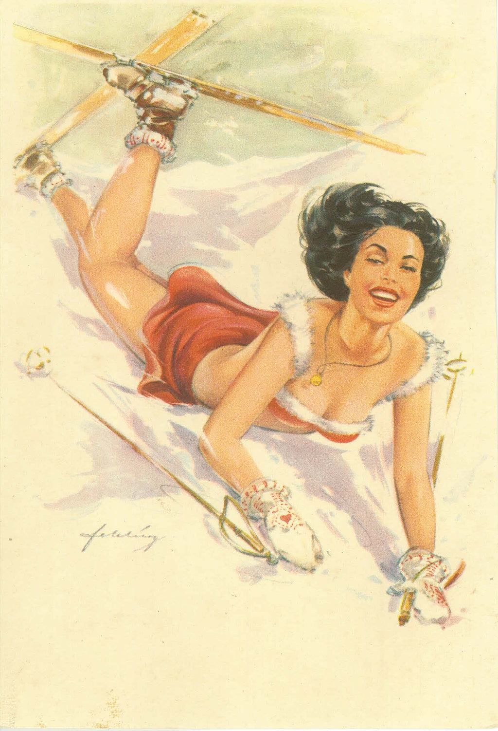 VINTAGE SKI GIRL  (DeeDee) from German Postcard 1940's